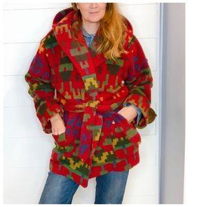 Vintage 90s Wool Western Wrap Coat/ Southwestern M
